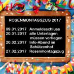 Anmeldung Rosenmontag 2017