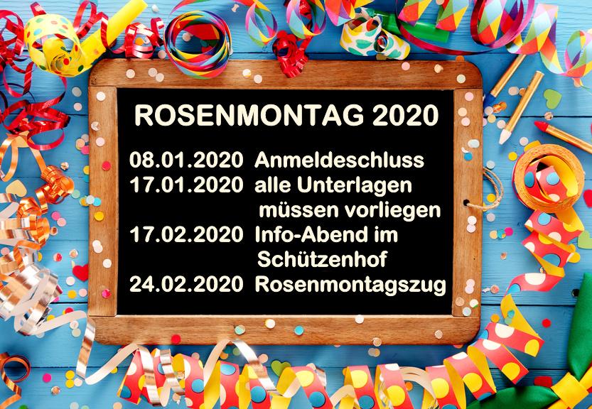 Anmeldung zum Rosenmontagszug 2020